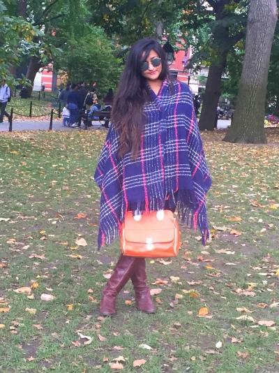 Plaid Blanket Scarf Poncho 2