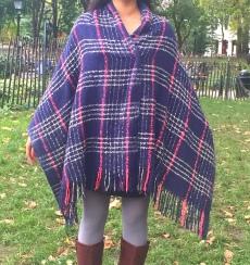 Plaid Blanket Scarf Poncho 4