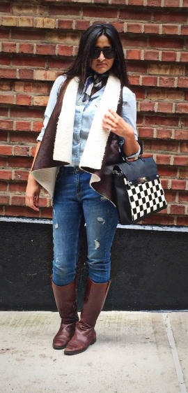 Faux Shearling Vest Outfit 1