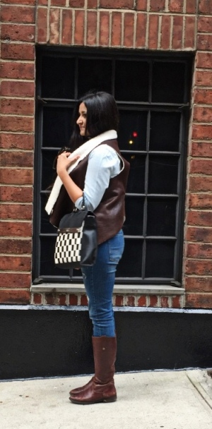 Faux Shearling Vest Outfit 3