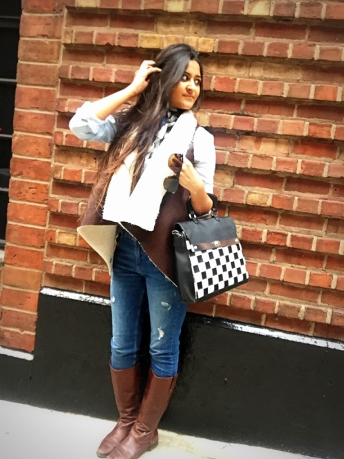 Faux Shearling Vest Outfit 4