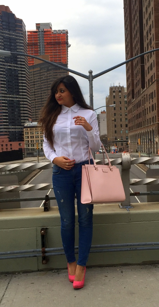White Scalloped Collar Shirt and Blue Jeans 1