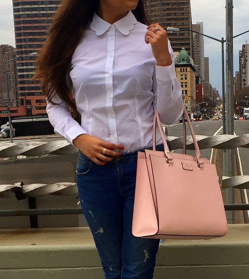 White Scalloped Collar Shirt and Blue Jeans 3