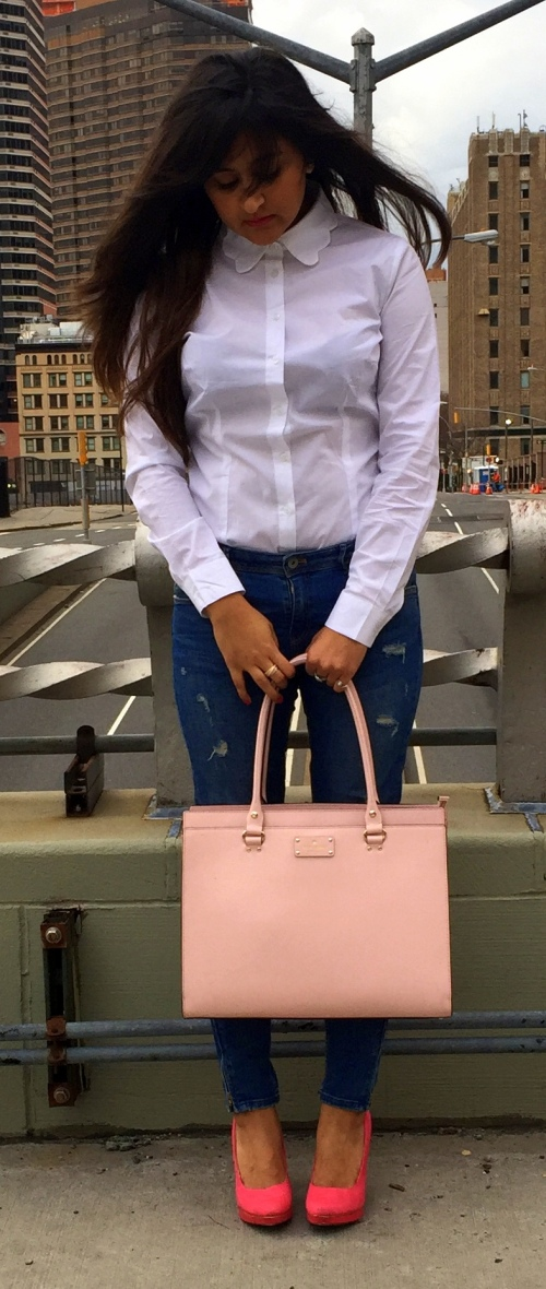 White Scalloped Collar Shirt and Blue Jeans 4