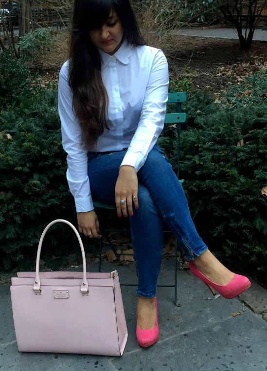 White Scalloped Collar Shirt and Blue Jeans 8