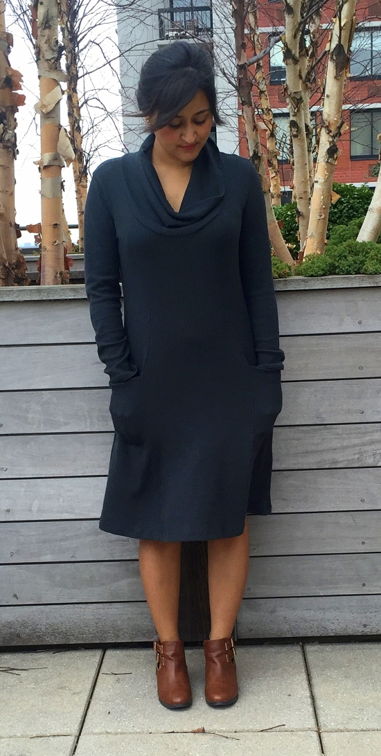 How to Wear Cowl Neck Sweater Dress 4