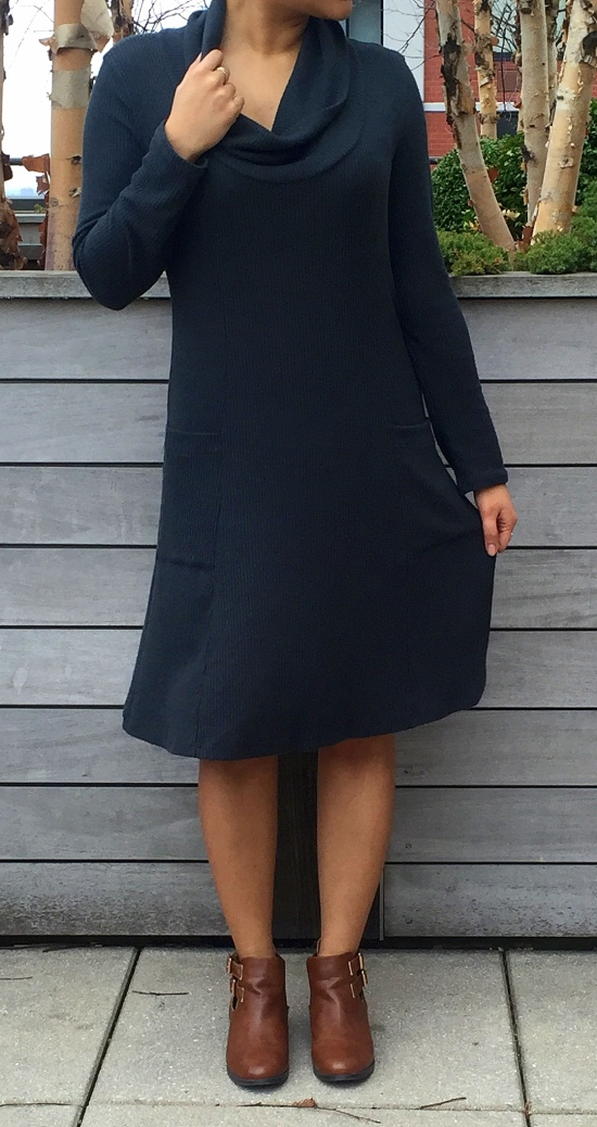 How to Wear Cowl Neck Sweater Dress 7