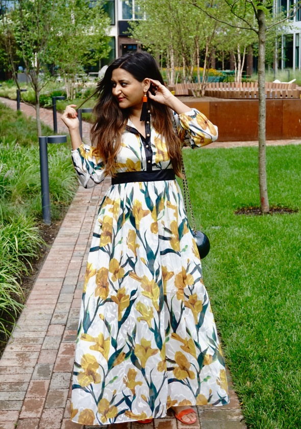 Long Sleeves Floral Maxi Dresses Outfit 1