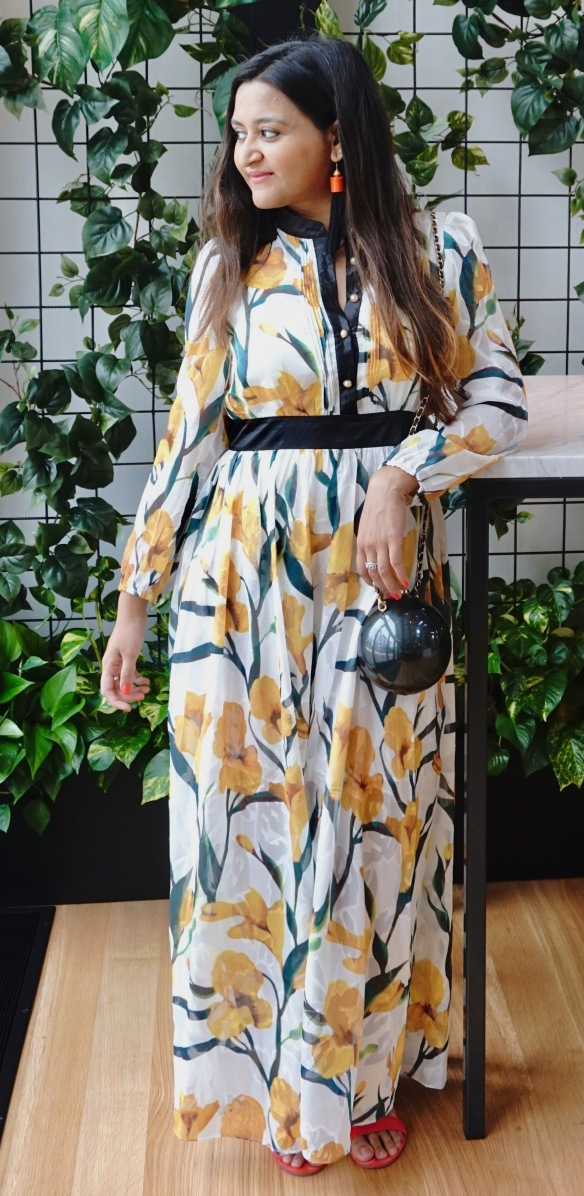 Long Sleeves Floral Maxi Dresses Outfit 2