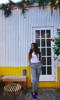 Frilled Waist Gingham Pants Outfit 1