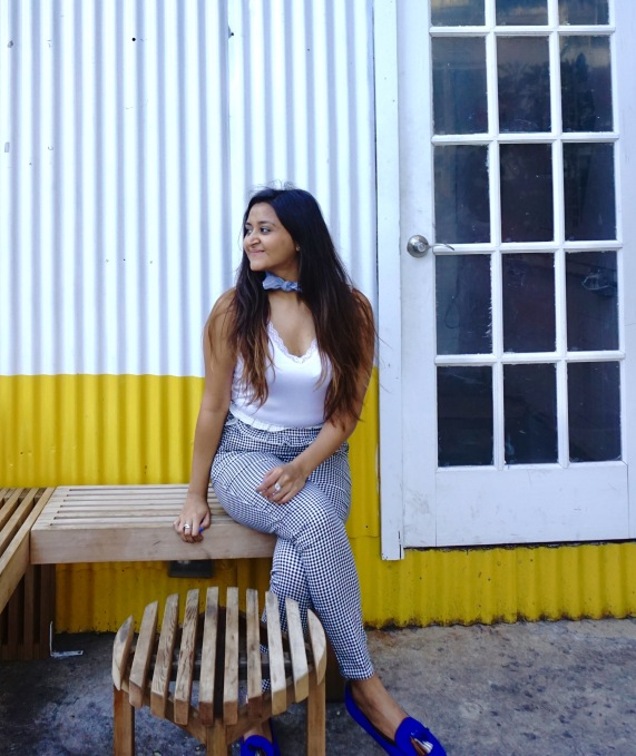 Frilled Waist Gingham Pants Outfit 2