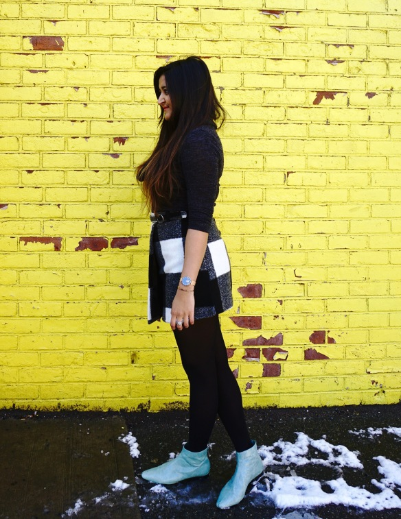 Winter Outfit ideas with Asymmetrical Skirt 1