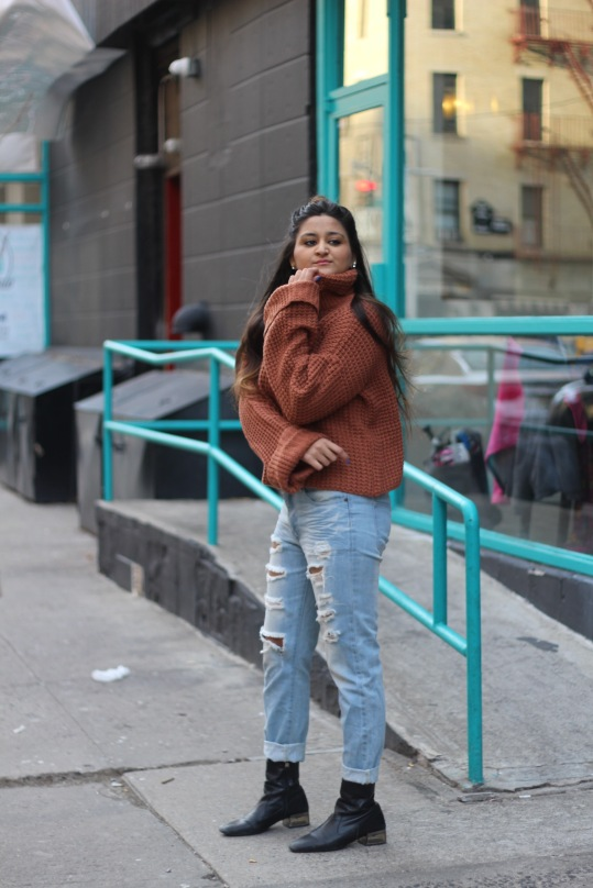 Winter outfit Boyfriend Jeans and Oversized Sweater 5