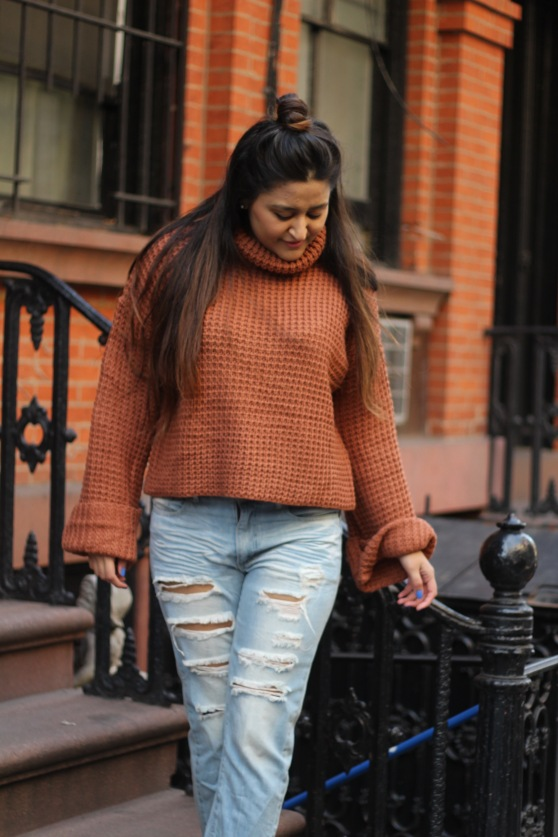 Winter outfit Boyfriend Jeans and Oversized Sweater 6