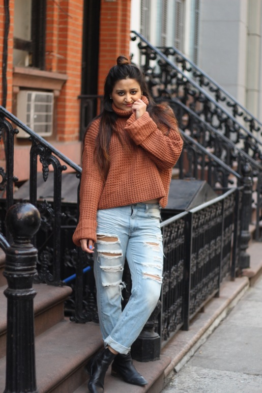 Winter outfit Boyfriend Jeans and Oversized Sweater 7