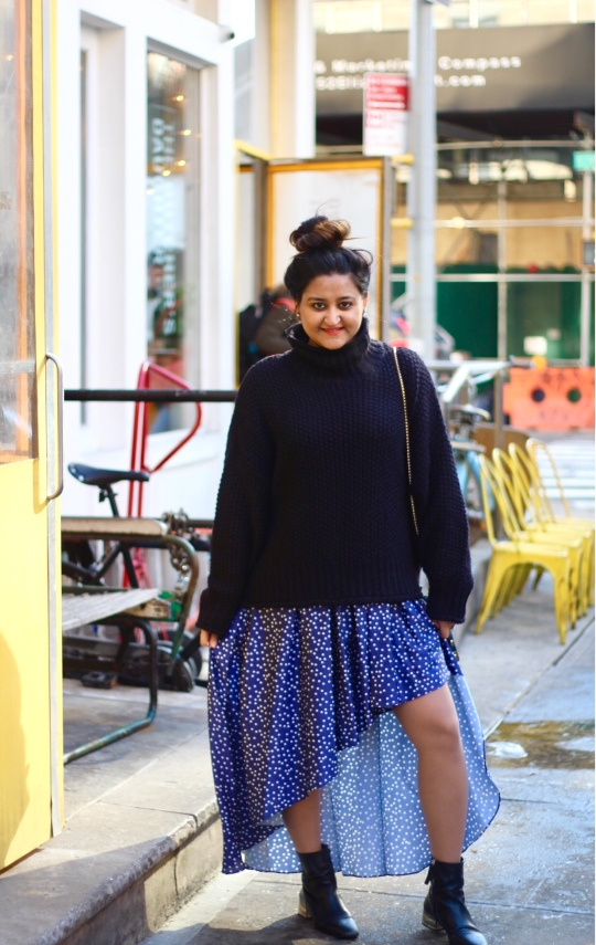 Winter Sweater and Skirt Combination Outfit 3
