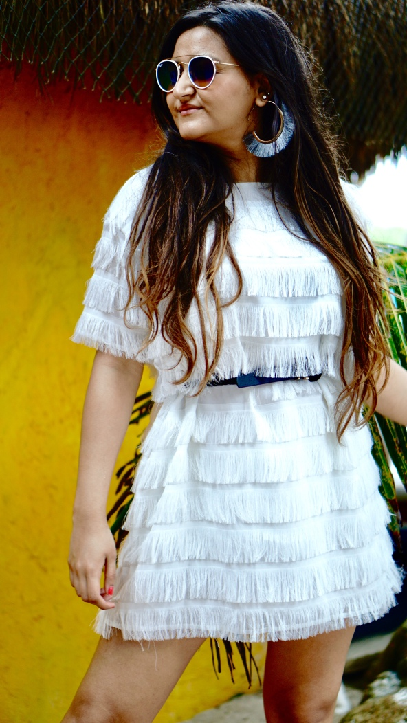 Fringe dress for vacation outfit idea 4