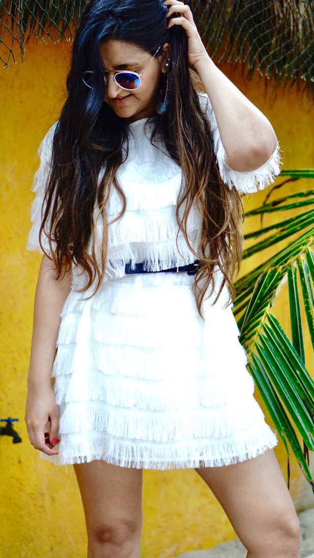 Fringe dress for vacation outfit idea 5