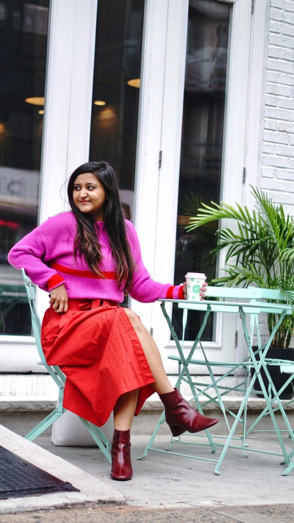 Bright Pink Sweater Outfit 1