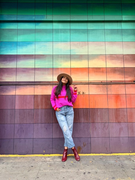 Bright Pink Sweater Outfit 6