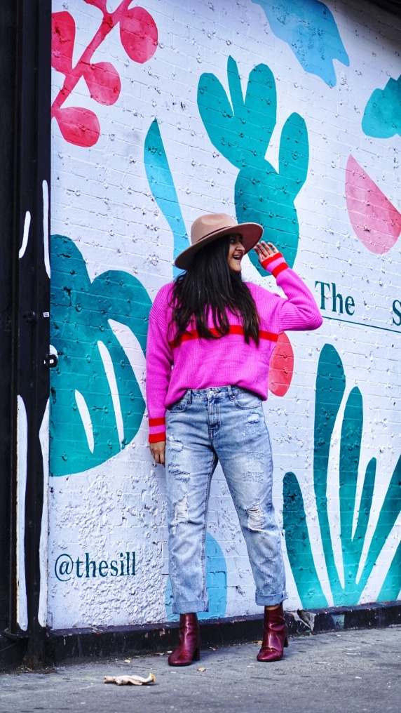 Bright Pink Sweater Outfit 7