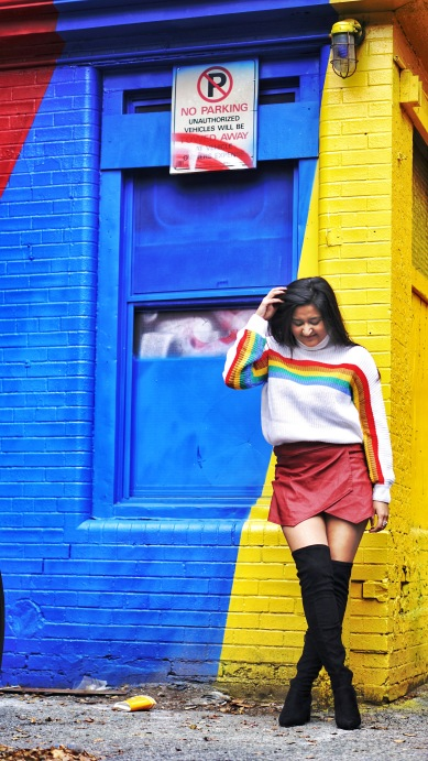Rainbow Sweater Outfit 2
