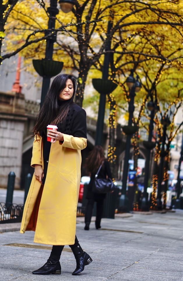 Yellow Winter Longline Coat Outfit 1