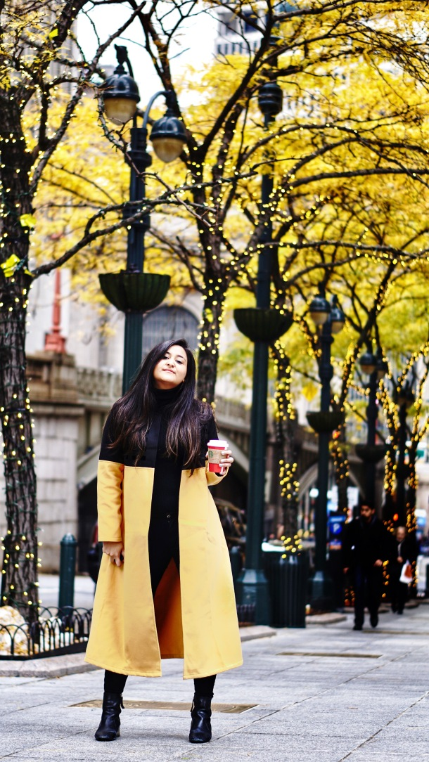 Yellow Winter Longline Coat Outfit 5