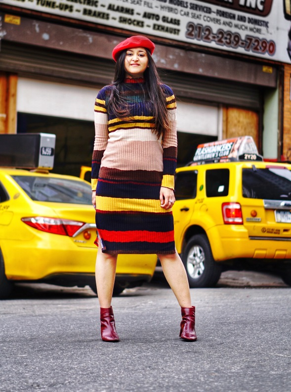 Striped Sweater Dress Outfit 1