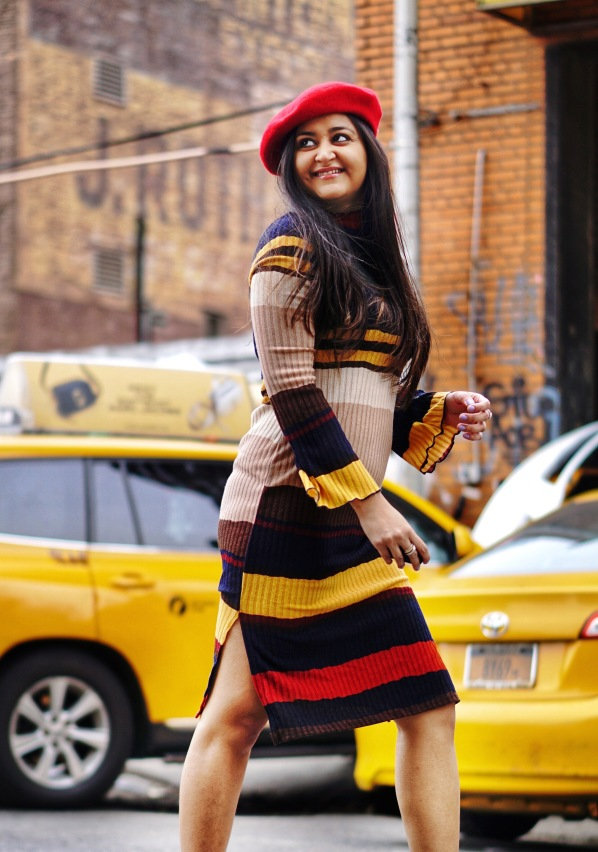 Striped Sweater Dress Outfit 2