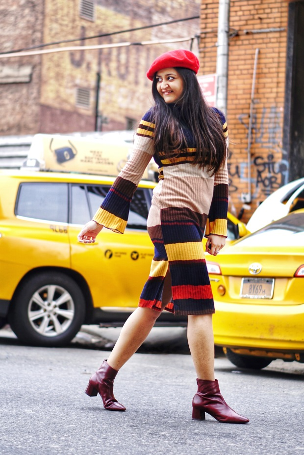 Striped Sweater Dress Outfit 3