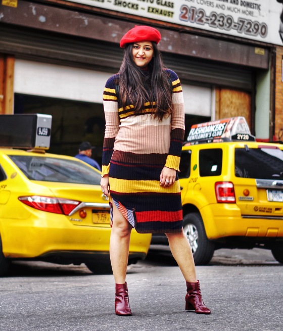 Striped Sweater Dress Outfit 4