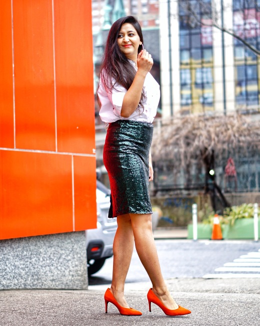 Sequin Skirt Outfit Idea 1