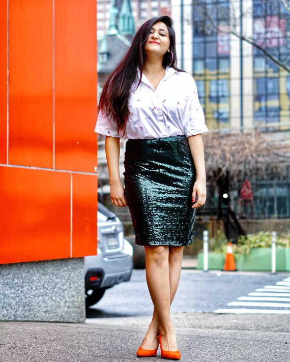 Sequin Skirt Outfit Idea 2