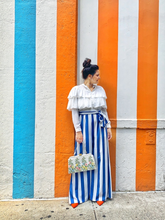 Striped wide Leg Outfit For Summer 1